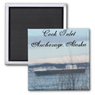 Cook Inlet Anchorage, Alaska Square Magnet