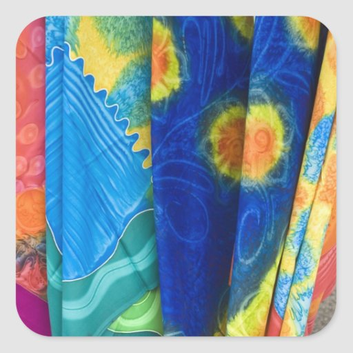 Cook Islands, Rarotonga. Batik cloth Punanga Nui Stickers