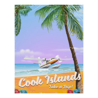 Cook Islands Vintage travel beach poster. Poster