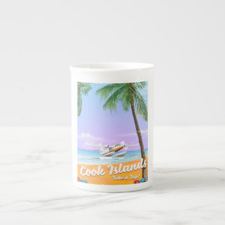 Cook Islands Vintage travel beach poster. Tea Cup