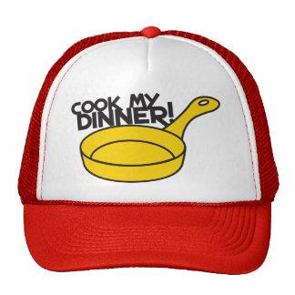 cook my dinner! with saucepan frying pan trucker hats