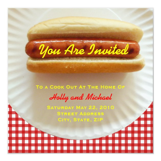 Cook Out Invitation - Hot Dog on a Plate | Zazzle.ca