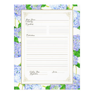 Cookbook Page Blue Hydrangea Lace Floral Formal
