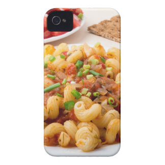 Cooked pasta cavatappi with stewed vegetable sauce iPhone 4 covers