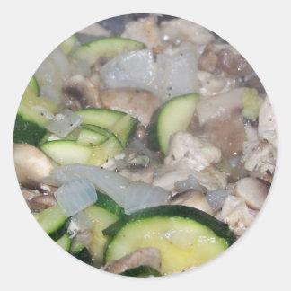 cooked seasoned veggies n chicken round sticker