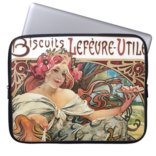 Cookie Advertisement Alphonse Mucha Art Nouveau Laptop Sleeve