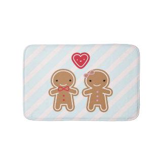 Cookie Cute Kawaii Gingerbread Couple Bath Mat