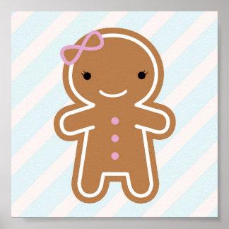 Cookie Cute Kawaii Gingerbread Girl Poster