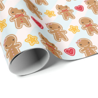 Cookie Cute Kawaii Gingerbread Men Wrapping Paper