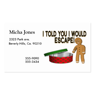 Cookie Gingerbread Man Escape Business Card