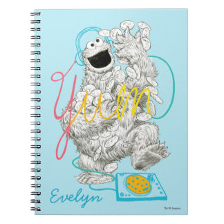 Cookie Monster B&W Sketch | Add Your Name Spiral Notebooks