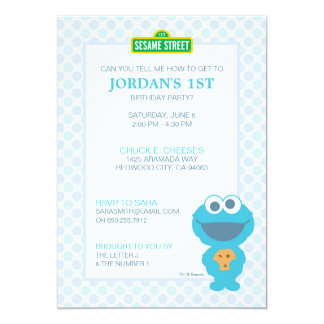 "Cookie Monster Baby Birthday 5"" X 7"" Invitation Card"