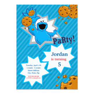 "Cookie Monster Birthday 4.5"" X 6.25"" Invitation Card"