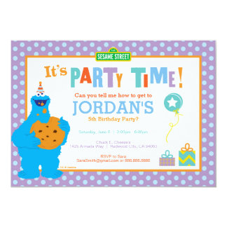 "Cookie Monster Birthday 5"" X 7"" Invitation Card"