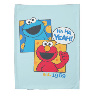 Cookie Monster & Elmo | Ha Ha Yeah Duvet Cover