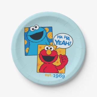 Cookie Monster & Elmo   Ha Ha Yeah Paper Plate
