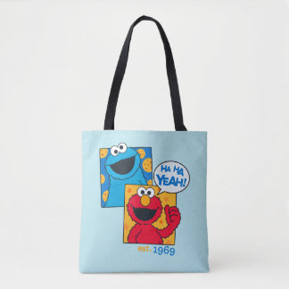 Cookie Monster & Elmo | Ha Ha Yeah Tote Bag