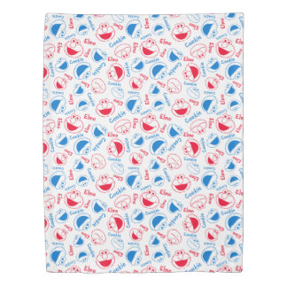 Cookie Monster & Elmo | Red & Blue Pattern Duvet Cover