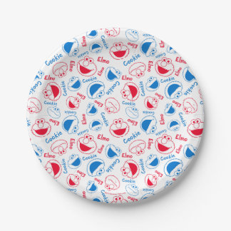 Cookie Monster & Elmo   Red & Blue Pattern Paper Plate