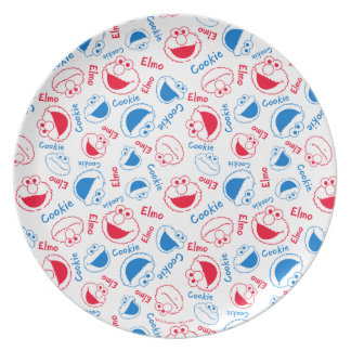Cookie Monster & Elmo   Red & Blue Pattern Plate