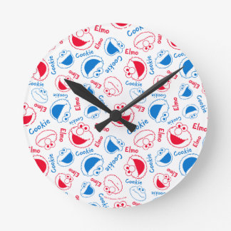 Cookie Monster & Elmo | Red & Blue Pattern Round Clock