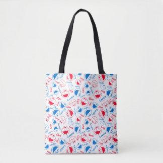 Cookie Monster & Elmo | Red & Blue Pattern Tote Bag