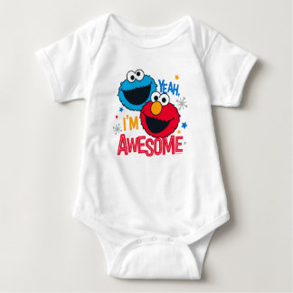 Cookie Monster & Elmo   Yeah, I'm Awesome Baby Bodysuit