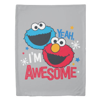 Cookie Monster & Elmo | Yeah, I'm Awesome Duvet Cover