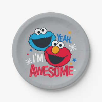 Cookie Monster & Elmo   Yeah, I'm Awesome Paper Plate