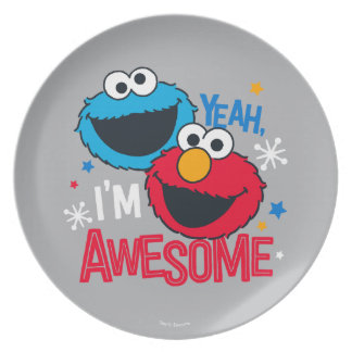 Cookie Monster & Elmo   Yeah, I'm Awesome Plate