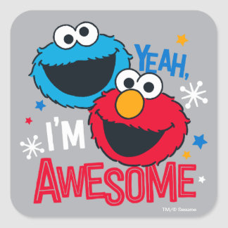 Cookie Monster & Elmo | Yeah, I'm Awesome Square Sticker