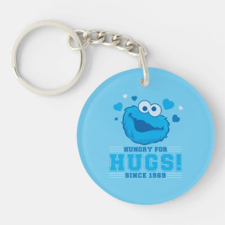Cookie Monster Hugs Double-Sided Round Acrylic Keychain