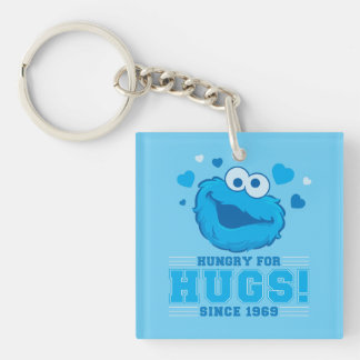 Cookie Monster Hugs Double-Sided Square Acrylic Keychain