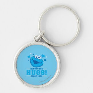 Cookie Monster Hugs Silver-Colored Round Keychain