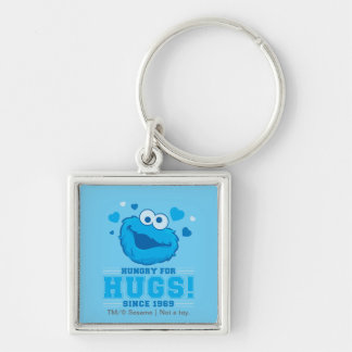Cookie Monster Hugs Silver-Colored Square Keychain