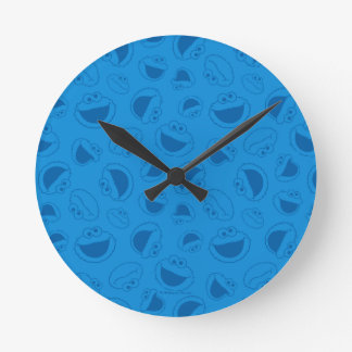 Cookie Monster | Me Awesome Blue Pattern Round Clock