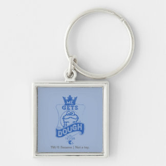 Cookie Monster Me Gets Dough Silver-Colored Square Keychain