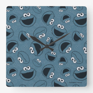 Cookie Monster | Me Hungry Pattern Square Wall Clock