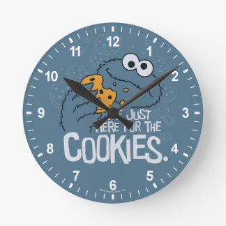 Cookie Monster | Me Just Here for the Cookies Round Clock