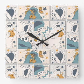 Cookie Monster | Om Nom Nom Comic Pattern Square Wall Clock