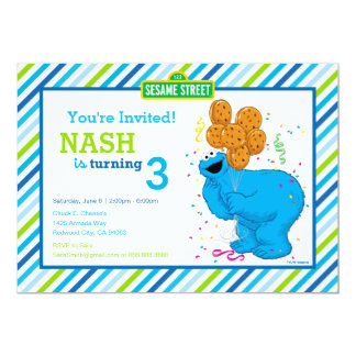 "Cookie Monster Striped Birthday 5"" X 7"" Invitation Card"