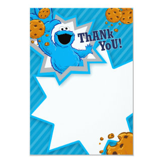 "Cookie Monster Thank You 3.5"" X 5"" Invitation Card"