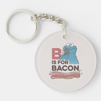 Cookie MonsterB is for Bacon Double-Sided Round Acrylic Keychain