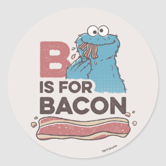 Cookie MonsterB is for Bacon Round Sticker