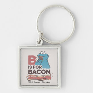 Cookie MonsterB is for Bacon Silver-Colored Square Keychain