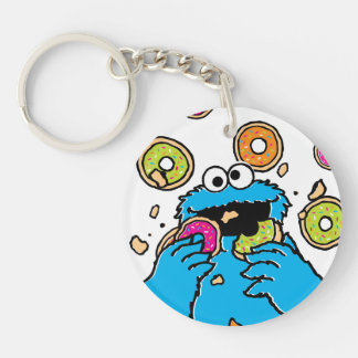 Cookie MonsterDonut Destroyer Double-Sided Round Acrylic Keychain