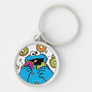 Cookie MonsterDonut Destroyer Silver-Colored Round Keychain