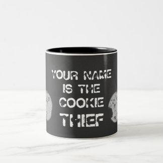 """Cookie Thief """"Your Name"""" Two-Tone Mug"""