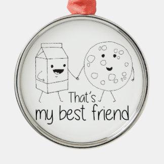 Cookies and Milk - Best Friends Metal Ornament