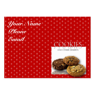 Cookies and Other Delicious Desserts on Red Business Card Template
